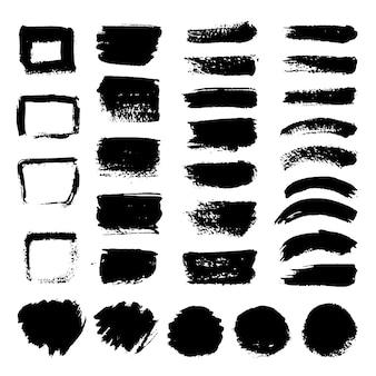 Schwarzer kunstpinsel-vektorsatz der tinte. schmutzige grunge gemalte anschläge. schmutzige schmutzillustration des schwarzen lack- und pinselanschlags