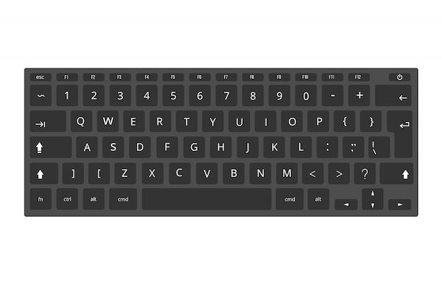 Schwarzer laptop, computertastaturschablone lokalisiert auf weiß