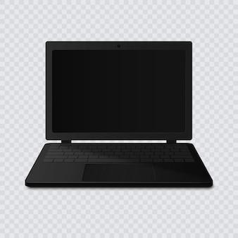 Schwarzer laptop mit leerem bildschirm isoliert auf transparentem hintergrund