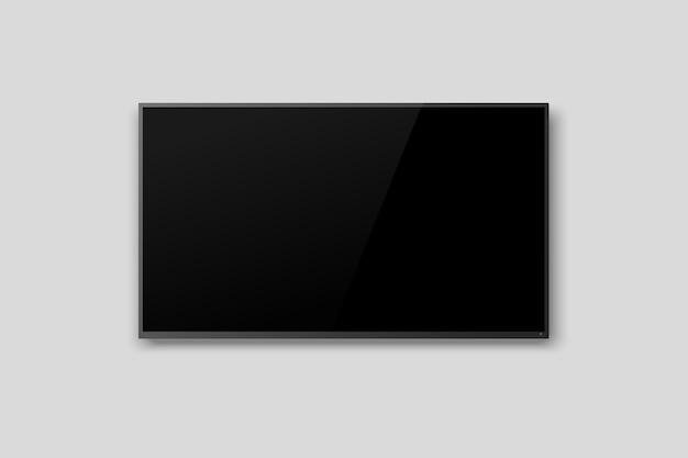 Schwarzer led-fernsehfernsehbildschirm leer auf grauem wandhintergrund