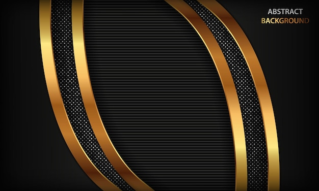 Schwarzer luxusdimensionshintergrund mit goldenen linien