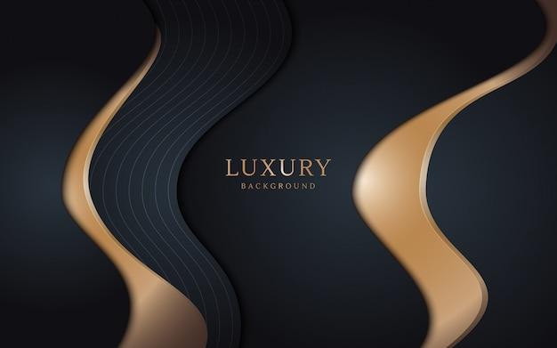 Schwarzer luxushintergrund kombiniert mit goldenen linien. strukturierter hintergrund der überlappungsschicht.