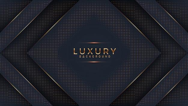 Schwarzer luxushintergrund mit einer kombination, die goldene punkte mit art 3d glüht.