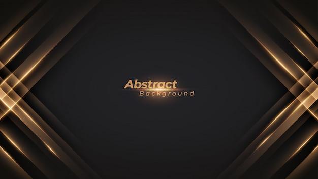 Schwarzer luxushintergrund mit glänzenden goldenen linien.