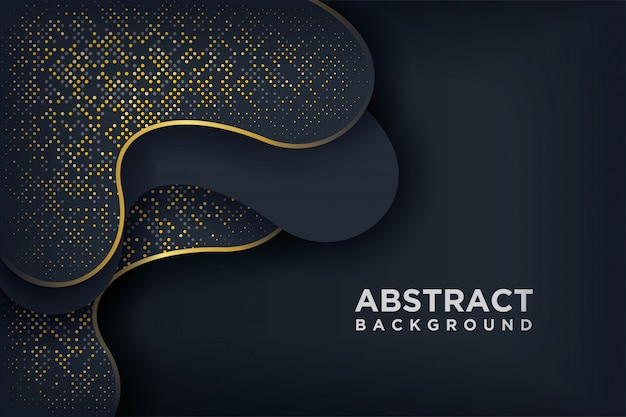 Schwarzer luxushintergrund mit glühenden goldenen punkten einer kombination.