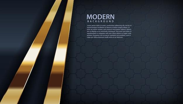 Schwarzer luxushintergrund mit goldenem