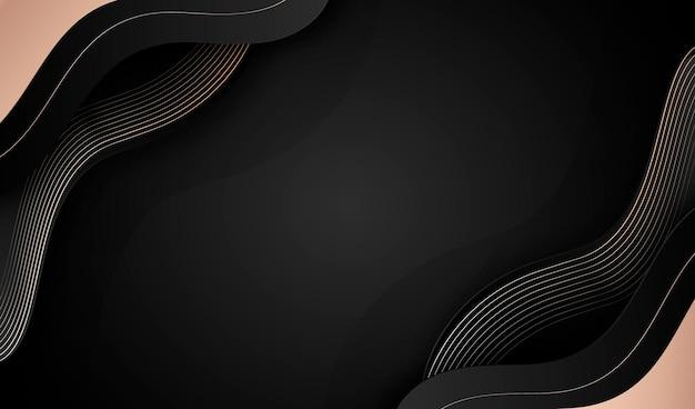 Schwarzer luxushintergrund mit goldenen abstrakten formen