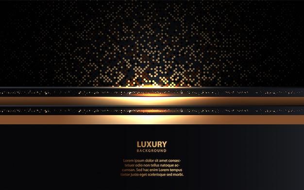 Schwarzer luxushintergrund mit goldener heller dekoration