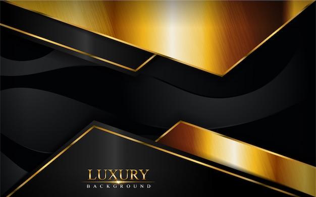 Schwarzer luxushintergrund mit goldener linienzusammensetzung