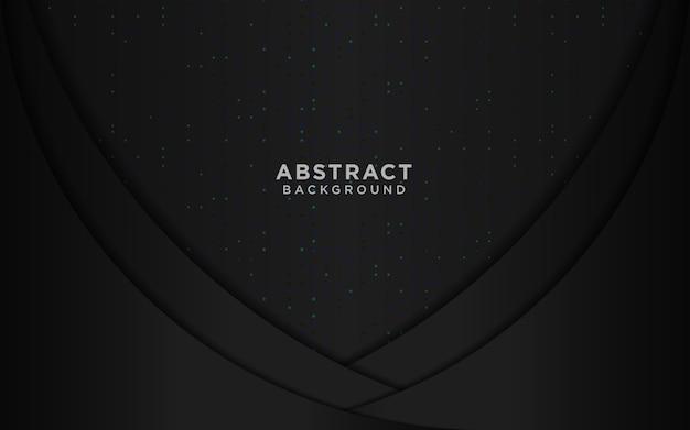 Schwarzer luxushintergrund mit wellenkreis-überlappungsschichten und blauem funkeln