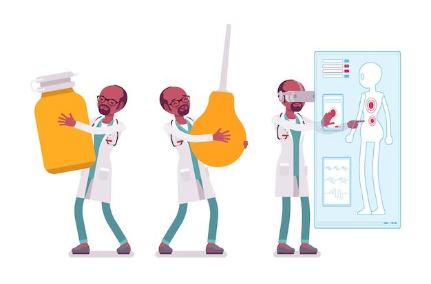 Schwarzer männlicher doktor mit mautgebühren