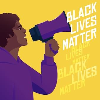 Schwarzer mann, der an der bewegung der schwarzen lebensmaterie teilnimmt