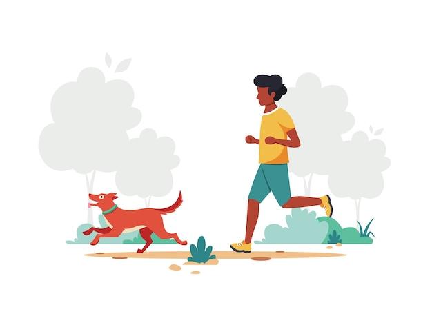Schwarzer mann, der im park joggt. gesunder lebensstil, outdoor-aktivitätskonzept.