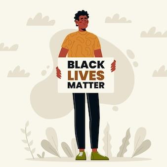 Schwarzer mann, der schwarze lebensmaterieplakat hält