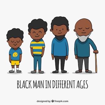 Schwarzer mann in der verschiedenen gezeichneten art des alters in der hand