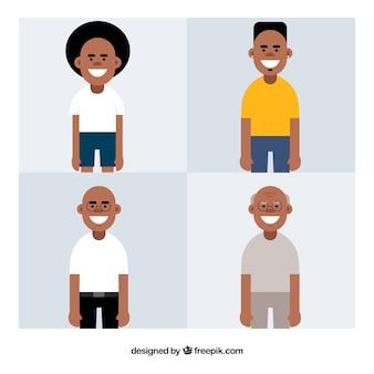 Schwarzer mann in verschiedenen altersstufen in der flachen art
