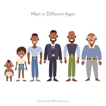 Schwarzer mann in verschiedenen altersstufen
