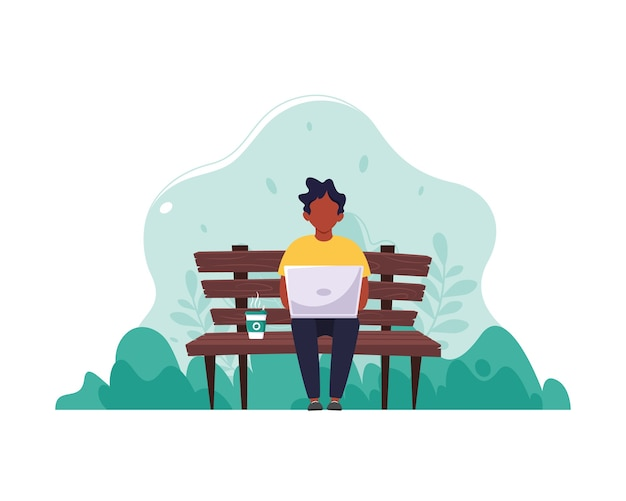 Schwarzer mann sitzt auf einer bank mit einem laptop und kaffee. das konzept von fernarbeit, freiberuflicher tätigkeit und e-learning. in einem flachen stil.