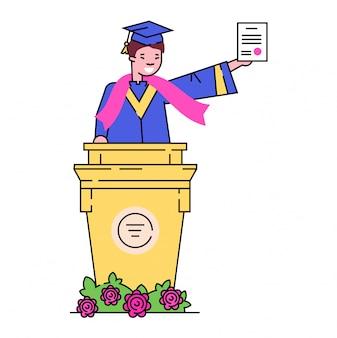 Schwarzer manncharakter vervollständigen sekundarschule, abschlussstudent stehend erhalten diplom auf weiß, illustration.