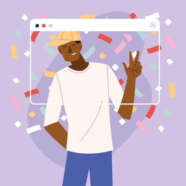 Schwarzer mannkarikatur der virtuellen partei mit hut und konfetti im bildschirmdesign, alles gute zum geburtstag und video-chat