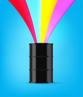 Schwarzer metallfass mit regenbogenspritzvektorillustration