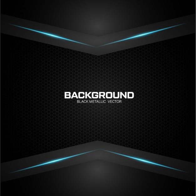 Schwarzer metallischer hintergrund mit blauem glänzendem