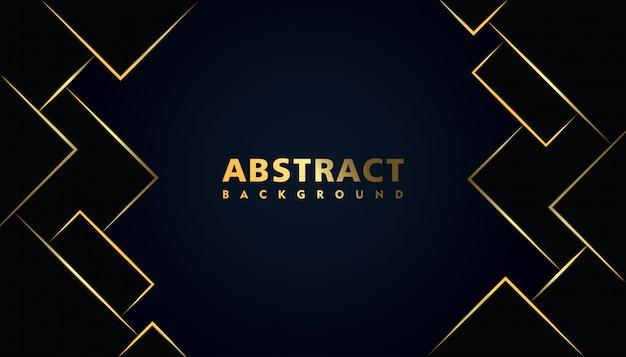Schwarzer moderner abstrakter hintergrund mit quadratischem goldeffekt