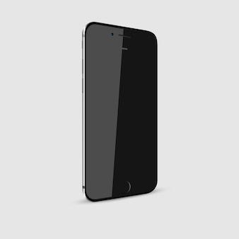 Schwarzer moderner smartphone mit dem leeren bildschirm lokalisiert