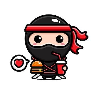 Schwarzer ninja genießt essen