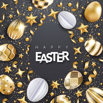 Schwarzer osterhintergrund mit realistisch verzierten goldenen eiern, bändern, sternen, konfetti und text. eierrahmenform.