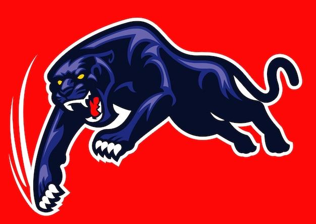 Schwarzer panther greift an