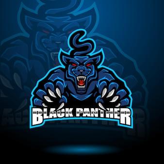 Schwarzer panther maskottchen logo