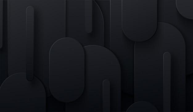 Schwarzer papierschnitthintergrund. 3d-illustration. abstrakter geometrischer hintergrund. überlagerte papierformen.