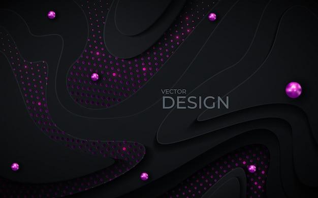 Schwarzer papierschnitthintergrund. abstrakte realistische papercut dekoration gemasert mit gewellten schichten und purpurrotem halbtoneffekt.
