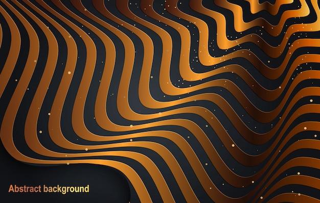 Schwarzer papierschnitthintergrund. abstrakte realistische papierschnittdekoration mit wellenrändern und farbverlauf. cover layout vorlage ..