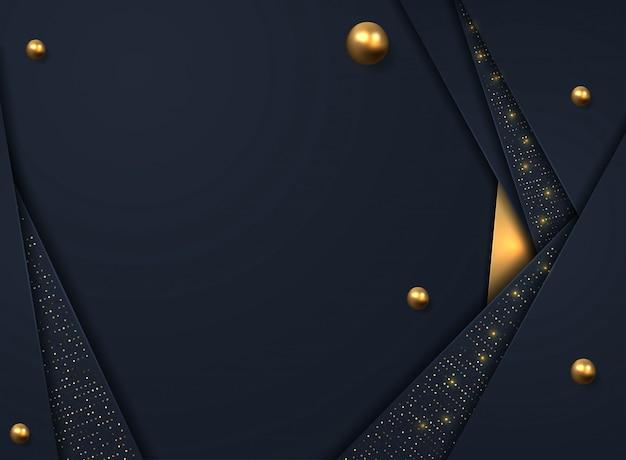 Schwarzer papierschnitthintergrund. abstrakte realistische überlagerte dekoration gemasert mit goldenem halbtonbild
