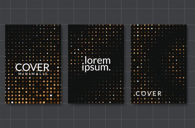 Schwarzer papierschnitthintergrund. abstrakte realistische überlagerte papercut dekoration gemasert mit goldenem halbtonmuster
