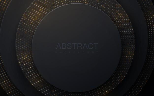 Schwarzer papierschnitthintergrund mit goldenem glitzern