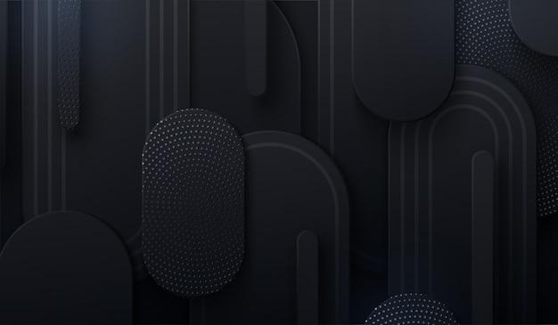 Schwarzer papierschnitthintergrund. papierformen mit silbernem glitzermuster strukturiert. minimalistisches cover-design