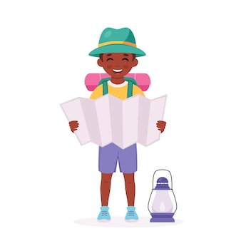 Schwarzer pfadfinder mit kartenrucksack camping sommer kindercamp