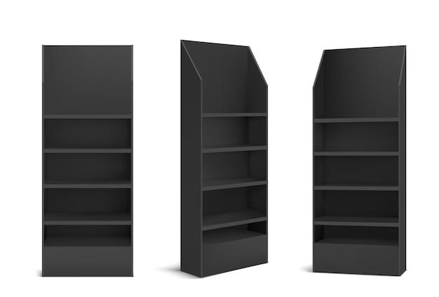 Schwarzer pos-displayständer für produkte in supermarkt, laden und laden.