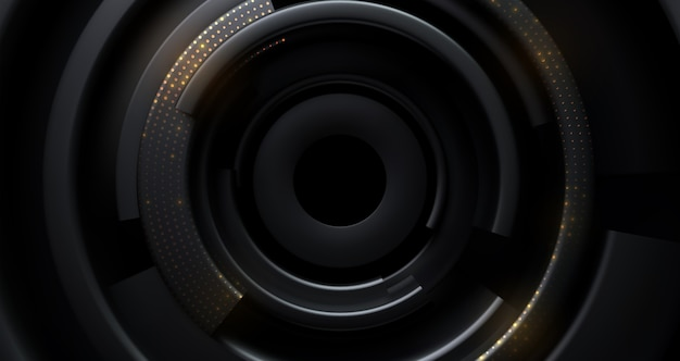 Schwarzer radialer hintergrund mit goldenem glitzer
