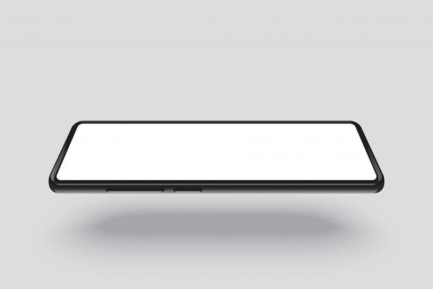 Schwarzer rahmen des smartphones mit weißem leerem bildschirm.