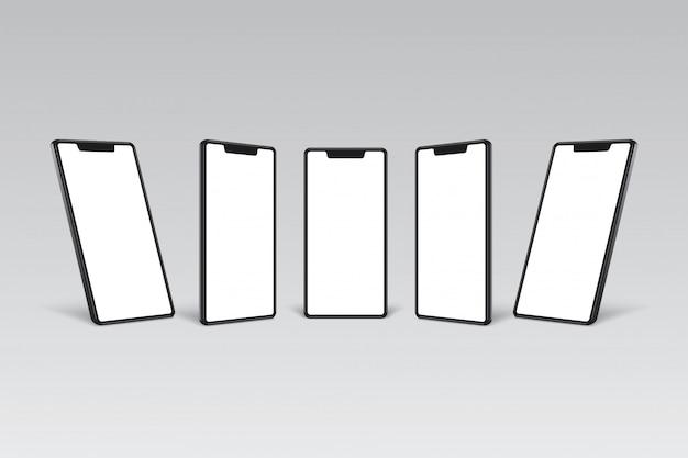 Schwarzer rahmen des smartphones mit weißer leerer anzeige verschiedener blickwinkelansichten.