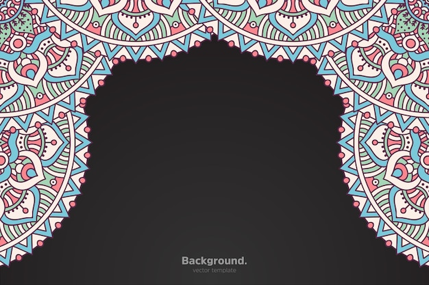 Schwarzer rahmen mit abstraktem orientalischem mandala