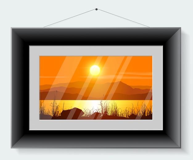 Schwarzer rahmen mit dem bild der landschaft lokalisiert auf grauem hintergrund. illustration.