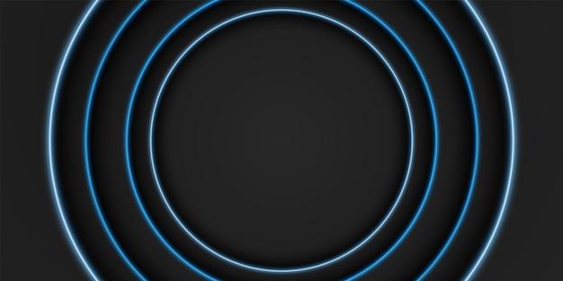Schwarzer rahmenhintergrund kreisförmige überlappungsschicht mit blauem lichtkreisform dunkles minimales design