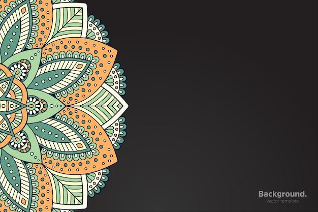 Schwarzer rahmenvektor mit abstraktem orientalischem mandala