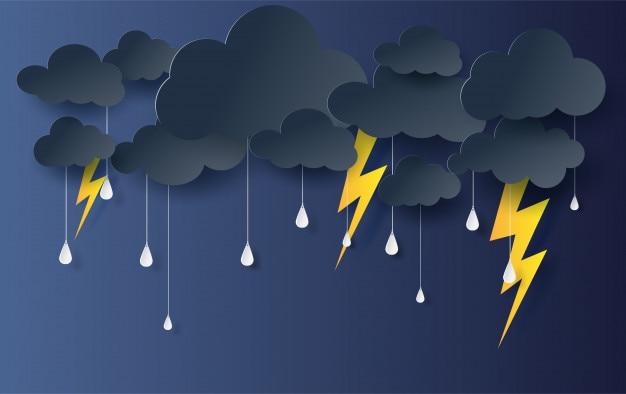 Schwarzer regenzeithintergrund der wolke und der blitz.