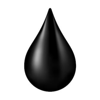 Schwarzer rohöltropfen lokalisiert. tropfen rohöl oder erdöl